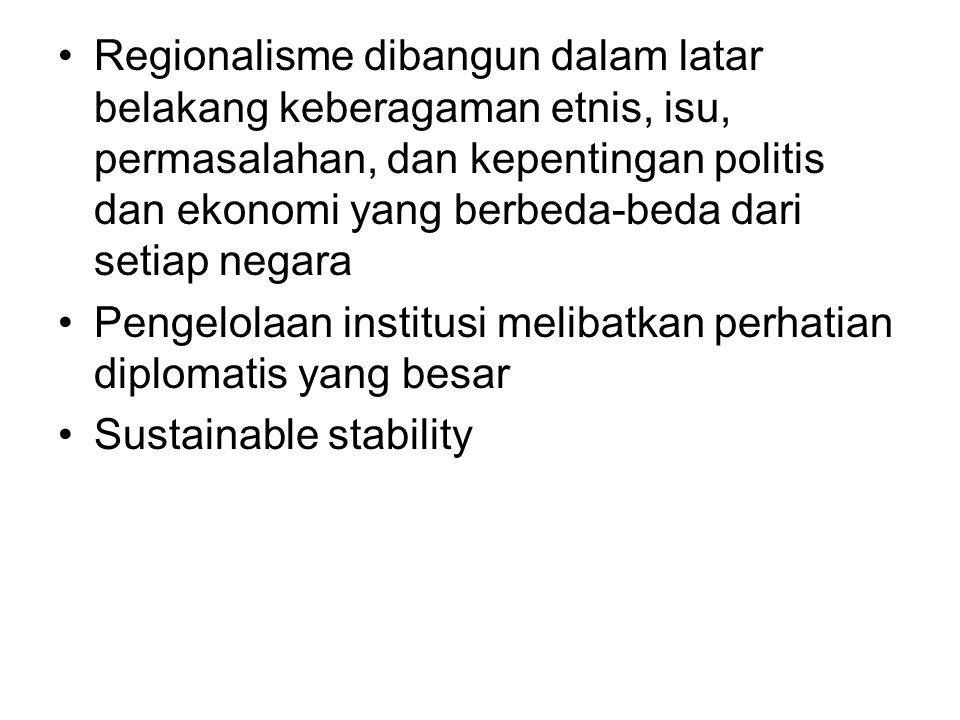 Regionalisme dibangun dalam latar belakang keberagaman etnis, isu, permasalahan, dan kepentingan politis dan ekonomi yang berbeda-beda dari setiap negara Pengelolaan institusi melibatkan perhatian diplomatis yang besar Sustainable stability