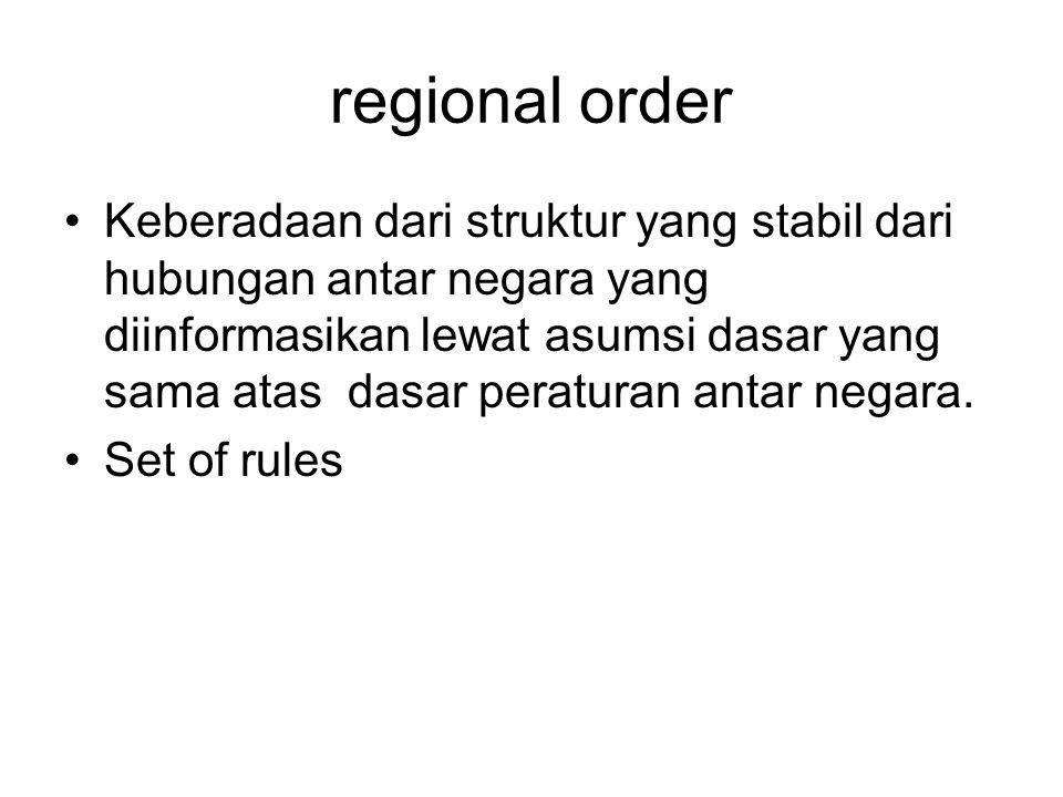 Keberadaan dari struktur yang stabil dari hubungan antar negara yang diinformasikan lewat asumsi dasar yang sama atas dasar peraturan antar negara.