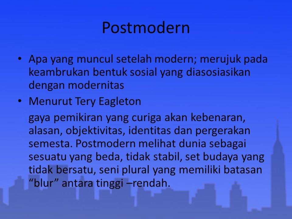 Postmodern Apa yang muncul setelah modern; merujuk pada keambrukan bentuk sosial yang diasosiasikan dengan modernitas Menurut Tery Eagleton gaya pemik