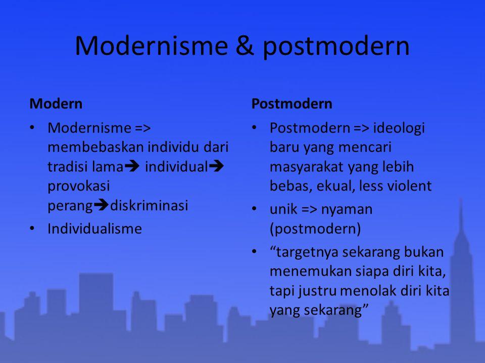 Modernisme & postmodern Modern Modernisme => membebaskan individu dari tradisi lama  individual  provokasi perang  diskriminasi Individualisme Post