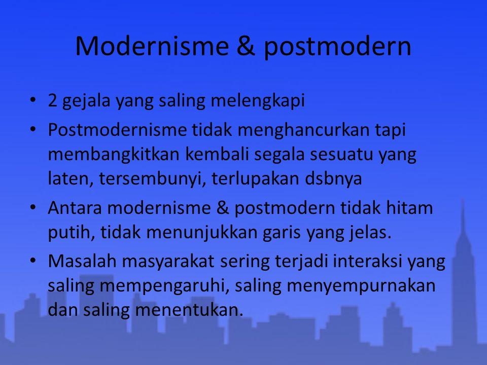 Modernisme & postmodern 2 gejala yang saling melengkapi Postmodernisme tidak menghancurkan tapi membangkitkan kembali segala sesuatu yang laten, terse