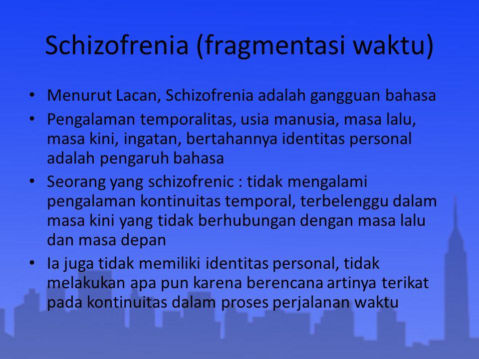 Schizofrenia (fragmentasi waktu) Menurut Lacan, Schizofrenia adalah gangguan bahasa Pengalaman temporalitas, usia manusia, masa lalu, masa kini, ingat