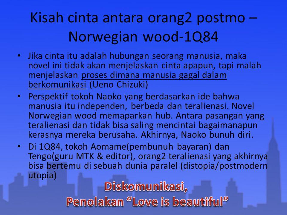 Kisah cinta antara orang2 postmo – Norwegian wood-1Q84 Jika cinta itu adalah hubungan seorang manusia, maka novel ini tidak akan menjelaskan cinta apa
