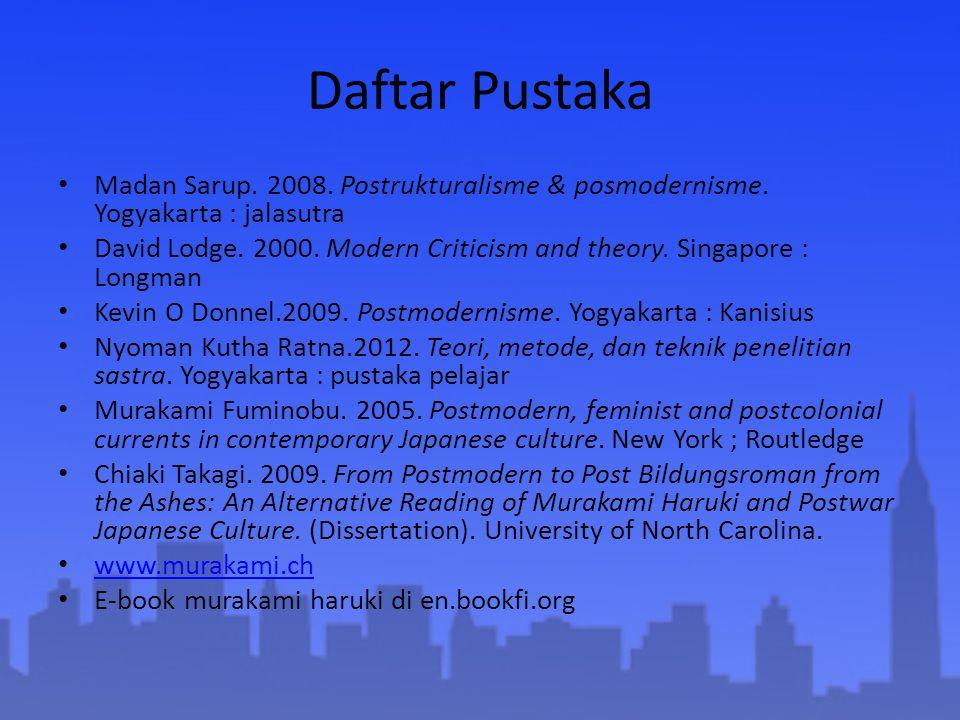 Daftar Pustaka Madan Sarup. 2008. Postrukturalisme & posmodernisme. Yogyakarta : jalasutra David Lodge. 2000. Modern Criticism and theory. Singapore :