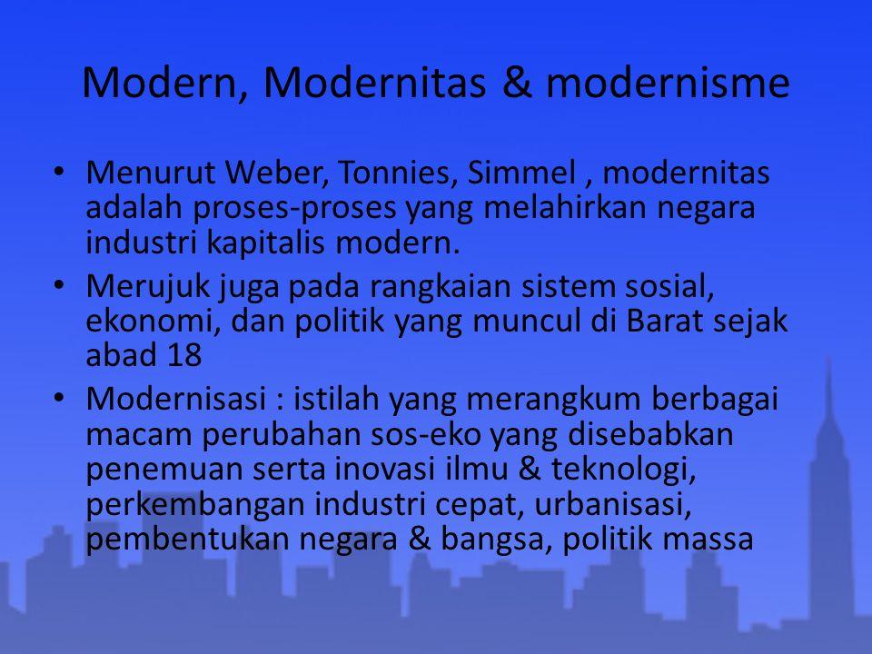 Modern, Modernitas & modernisme Menurut Weber, Tonnies, Simmel, modernitas adalah proses-proses yang melahirkan negara industri kapitalis modern. Meru
