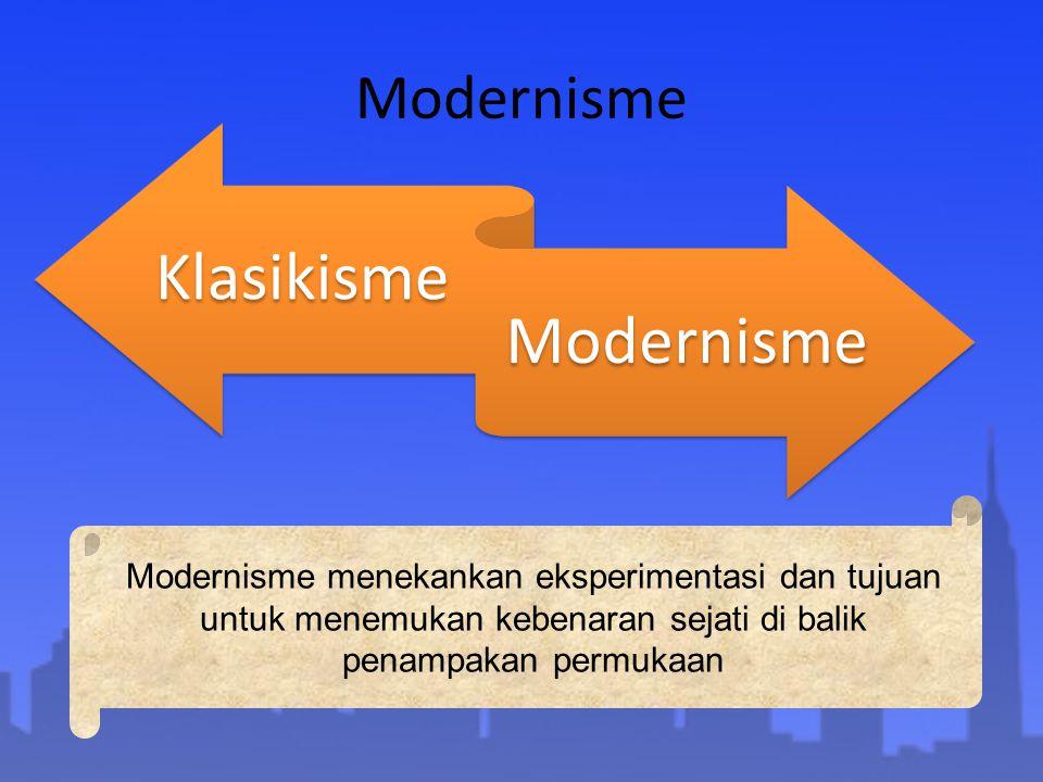 Modernisme Klasikisme Modernisme Modernisme menekankan eksperimentasi dan tujuan untuk menemukan kebenaran sejati di balik penampakan permukaan