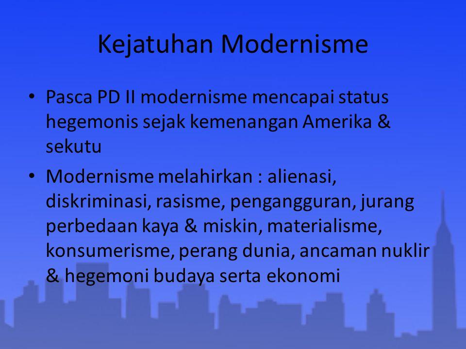 Kejatuhan Modernisme Pasca PD II modernisme mencapai status hegemonis sejak kemenangan Amerika & sekutu Modernisme melahirkan : alienasi, diskriminasi