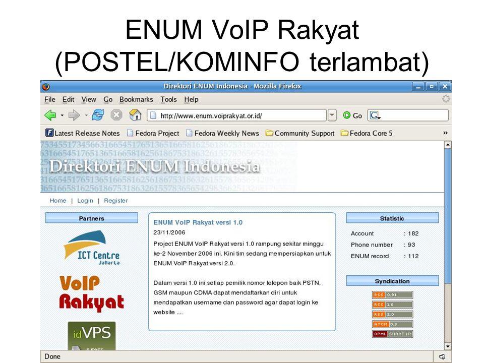 ENUM VoIP Rakyat (POSTEL/KOMINFO terlambat)