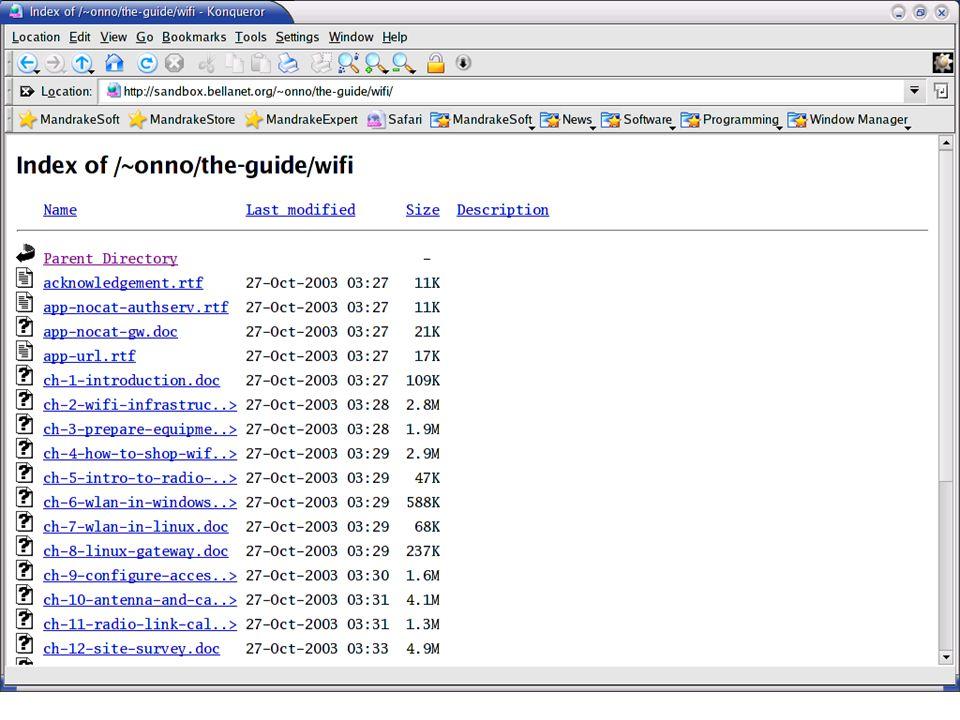 Web http://sandbox.bellanet.org/~onno http://www.apjii.or.id/onno/