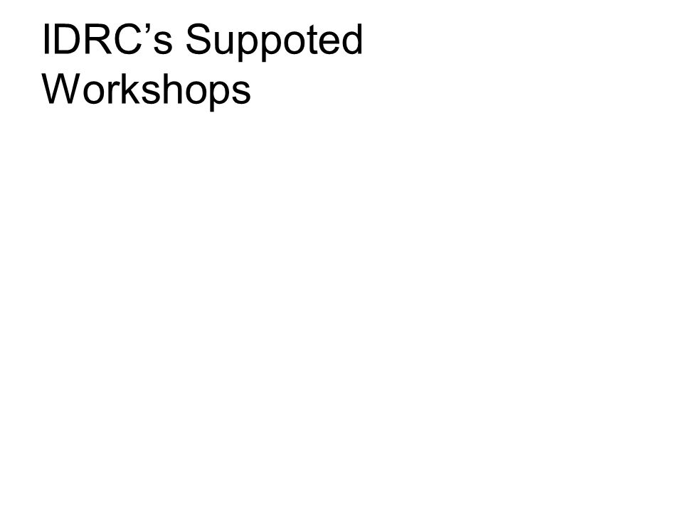 IDRC's Suppoted Workshops