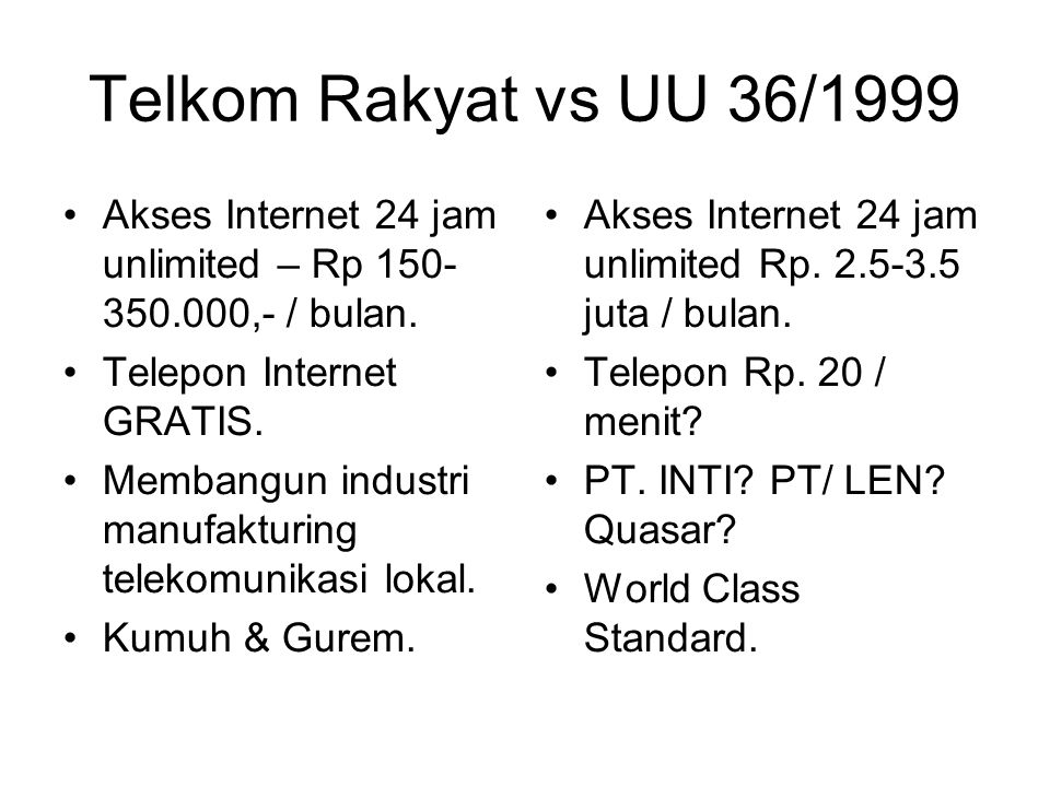 Telkom Rakyat vs UU 36/1999 Akses Internet 24 jam unlimited – Rp 150- 350.000,- / bulan.