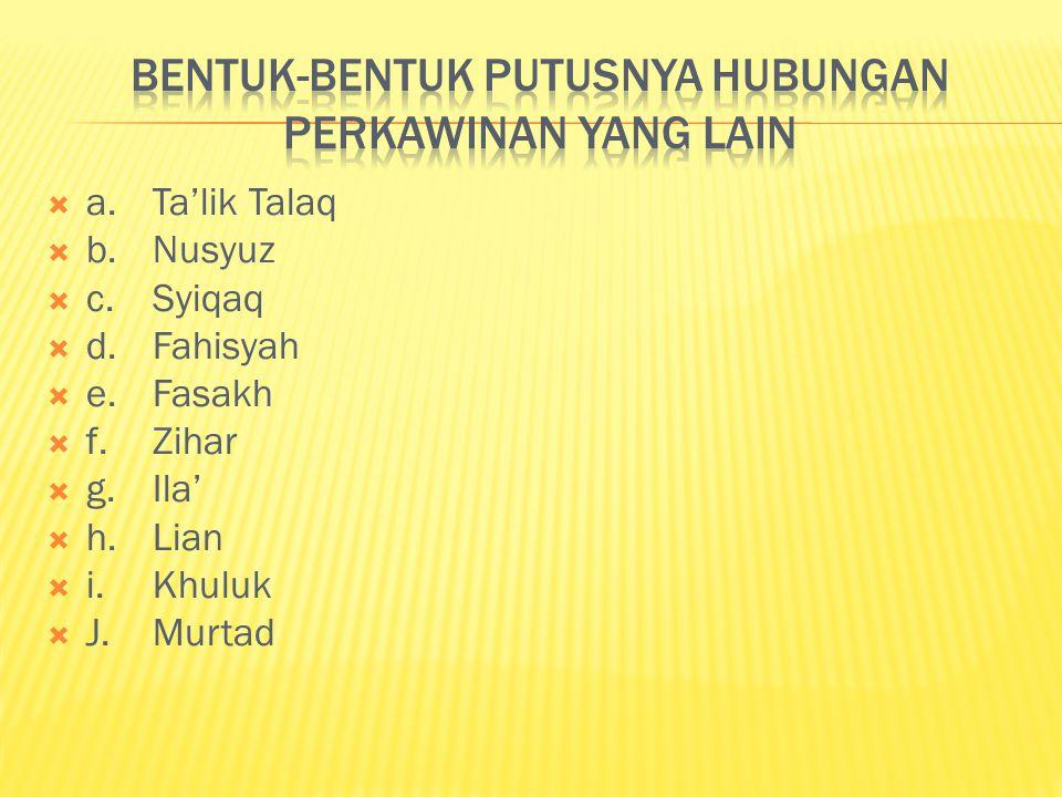  a.Ta'lik Talaq  b.Nusyuz  c.Syiqaq  d.Fahisyah  e.Fasakh  f.Zihar  g.Ila'  h.Lian  i.Khuluk  J.Murtad