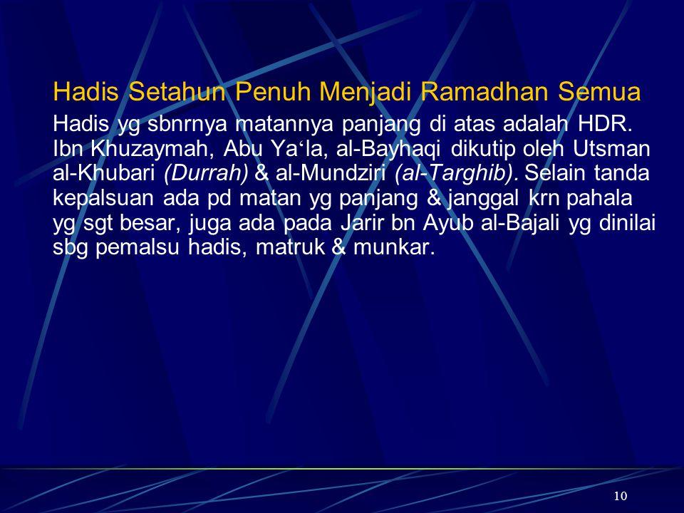 10 Hadis Setahun Penuh Menjadi Ramadhan Semua Hadis yg sbnrnya matannya panjang di atas adalah HDR. Ibn Khuzaymah, Abu Ya ' la, al-Bayhaqi dikutip ole
