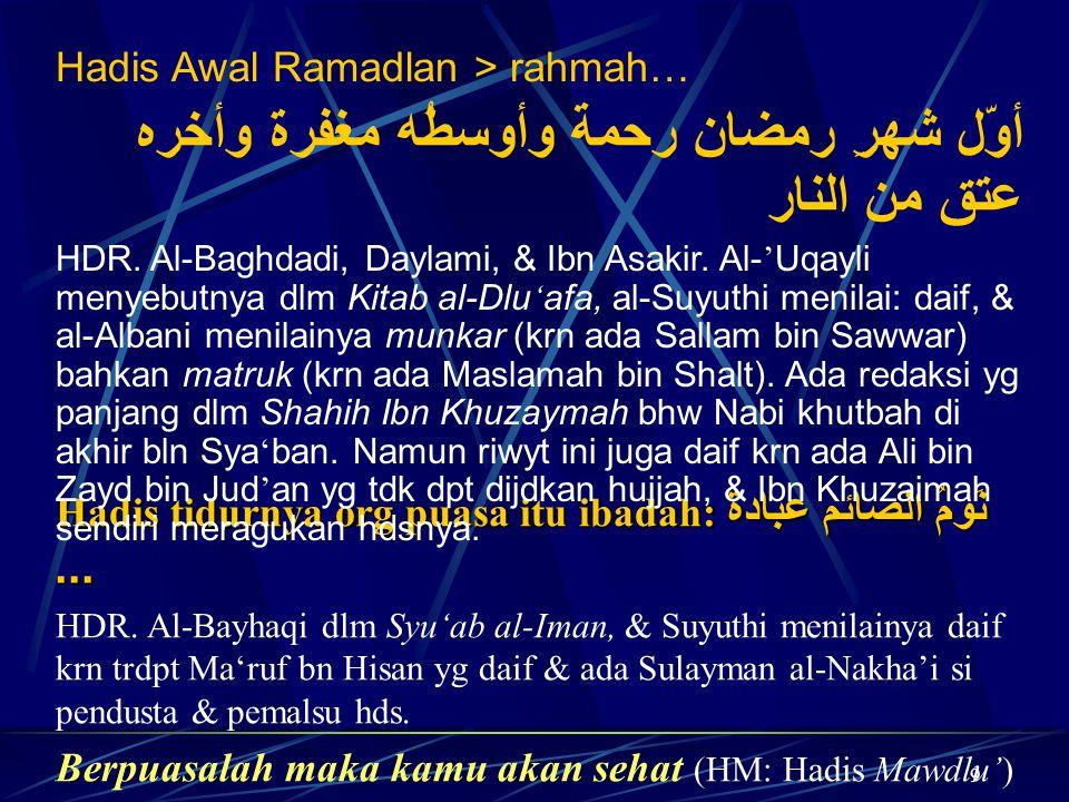 9 Hadis tidurnya org puasa itu ibadah: نَومُ الصائم عبادة... HDR. Al-Bayhaqi dlm Syu'ab al-Iman, & Suyuthi menilainya daif krn trdpt Ma'ruf bn Hisan y
