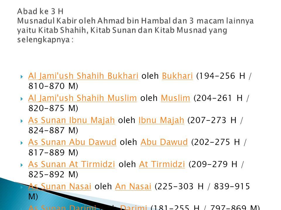 Al Jami'ush Shahih Bukhari oleh Bukhari (194-256 H / 810-870 M) Al Jami'ush Shahih BukhariBukhari  Al Jami'ush Shahih Muslim oleh Muslim (204-261 H