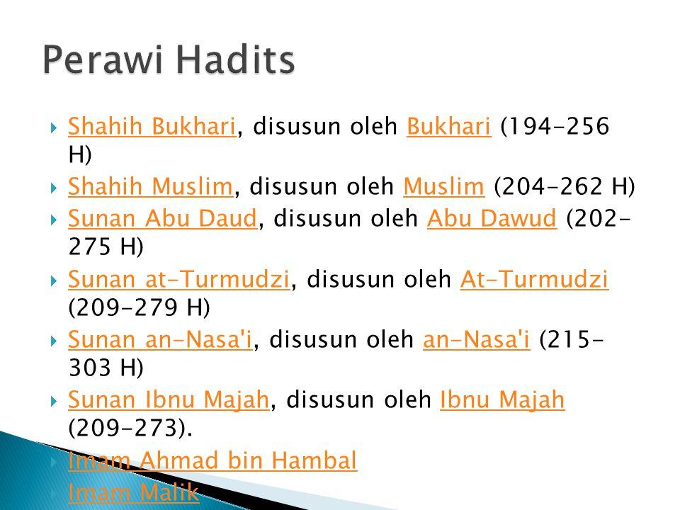  Shahih Bukhari, disusun oleh Bukhari (194-256 H) Shahih BukhariBukhari  Shahih Muslim, disusun oleh Muslim (204-262 H) Shahih MuslimMuslim  Sunan