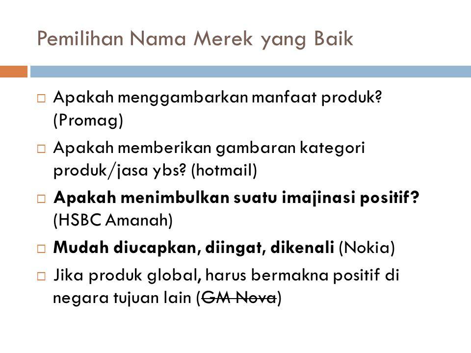 Pemilihan Nama Merek yang Baik  Apakah menggambarkan manfaat produk? (Promag)  Apakah memberikan gambaran kategori produk/jasa ybs? (hotmail)  Apak