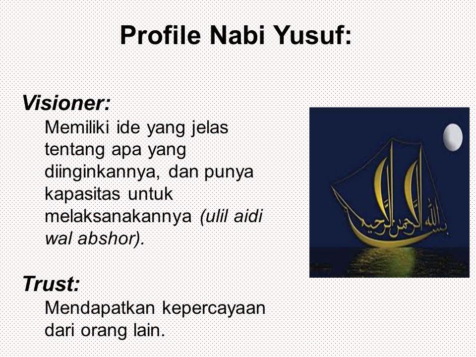 Profile Nabi Yusuf: Visioner: Memiliki ide yang jelas tentang apa yang diinginkannya, dan punya kapasitas untuk melaksanakannya (ulil aidi wal abshor).