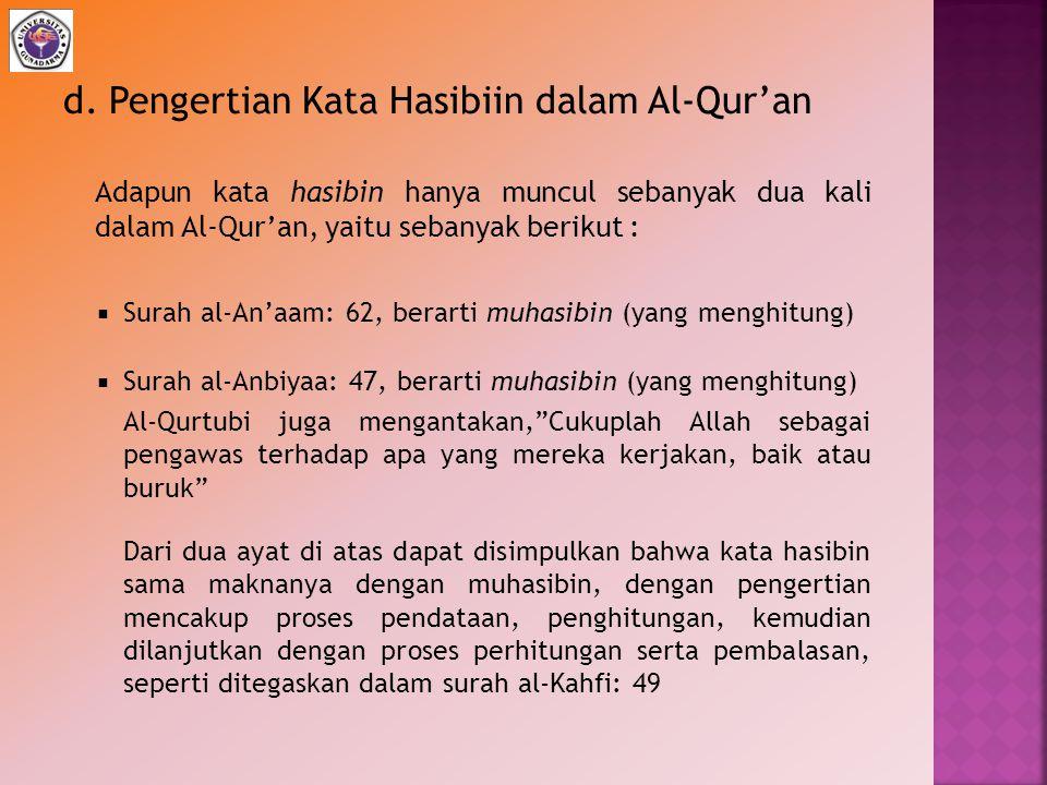 d. Pengertian Kata Hasibiin dalam Al-Qur'an Adapun kata hasibin hanya muncul sebanyak dua kali dalam Al-Qur'an, yaitu sebanyak berikut :  Surah al-An