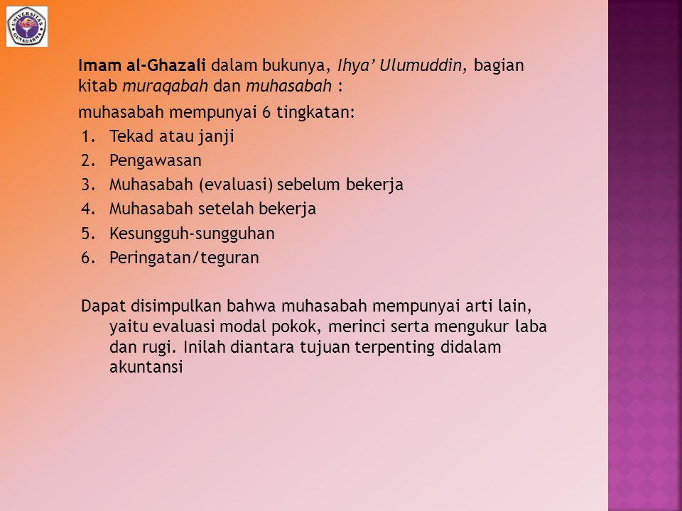 Imam al-Ghazali dalam bukunya, Ihya' Ulumuddin, bagian kitab muraqabah dan muhasabah : muhasabah mempunyai 6 tingkatan: 1.Tekad atau janji 2.Pengawasa