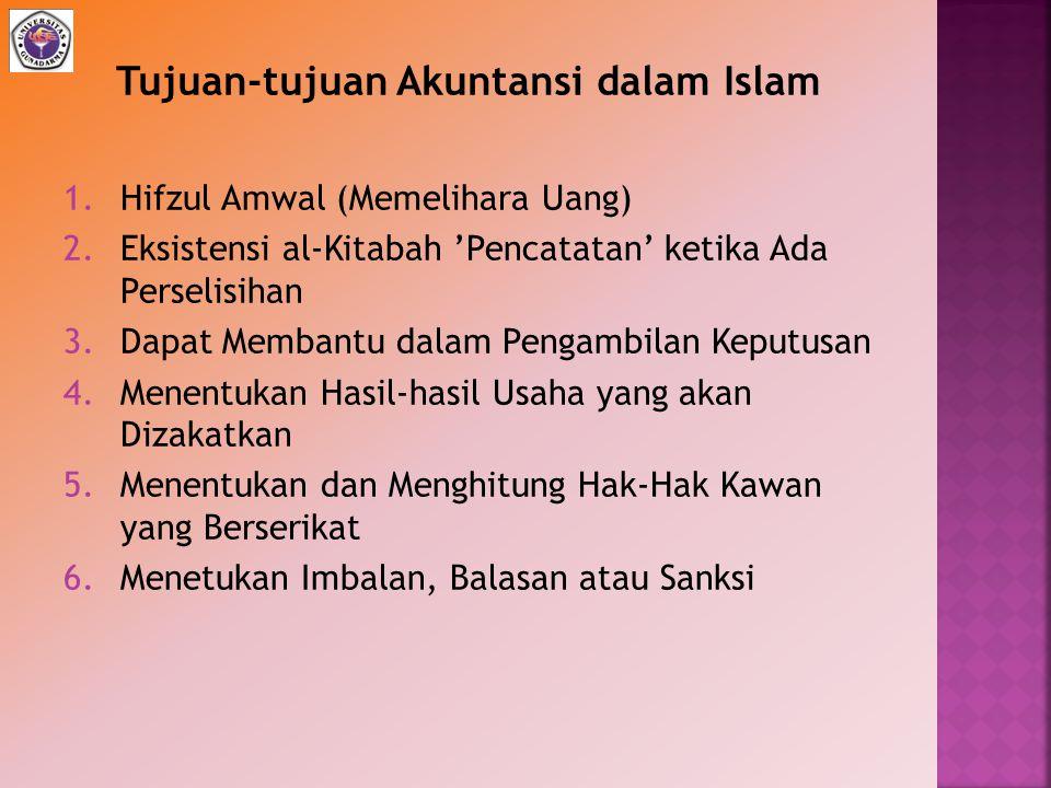 1.Hifzul Amwal (Memelihara Uang) 2.Eksistensi al-Kitabah 'Pencatatan' ketika Ada Perselisihan 3.Dapat Membantu dalam Pengambilan Keputusan 4.Menentuka