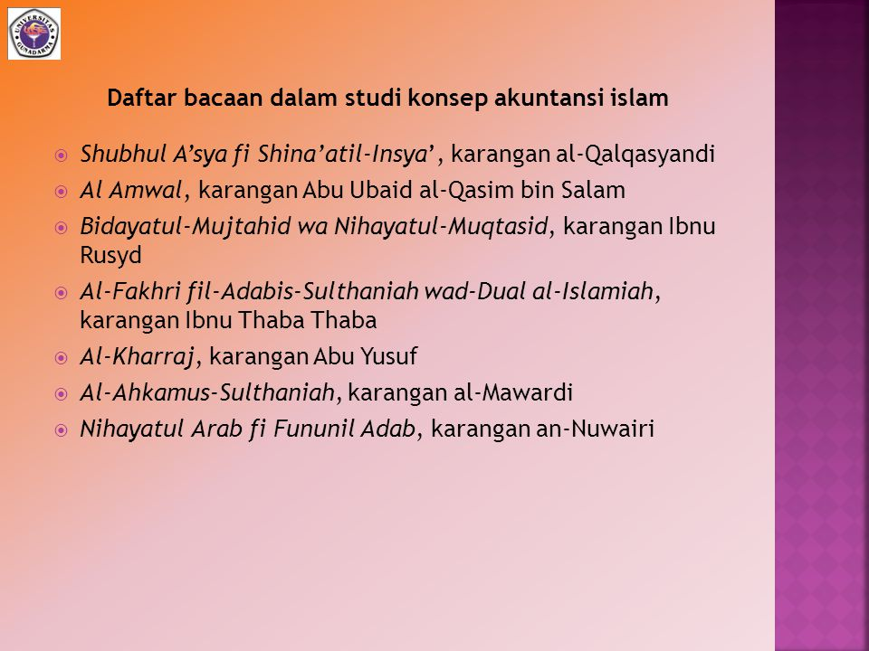  Shubhul A'sya fi Shina'atil-Insya', karangan al-Qalqasyandi  Al Amwal, karangan Abu Ubaid al-Qasim bin Salam  Bidayatul-Mujtahid wa Nihayatul-Muqt