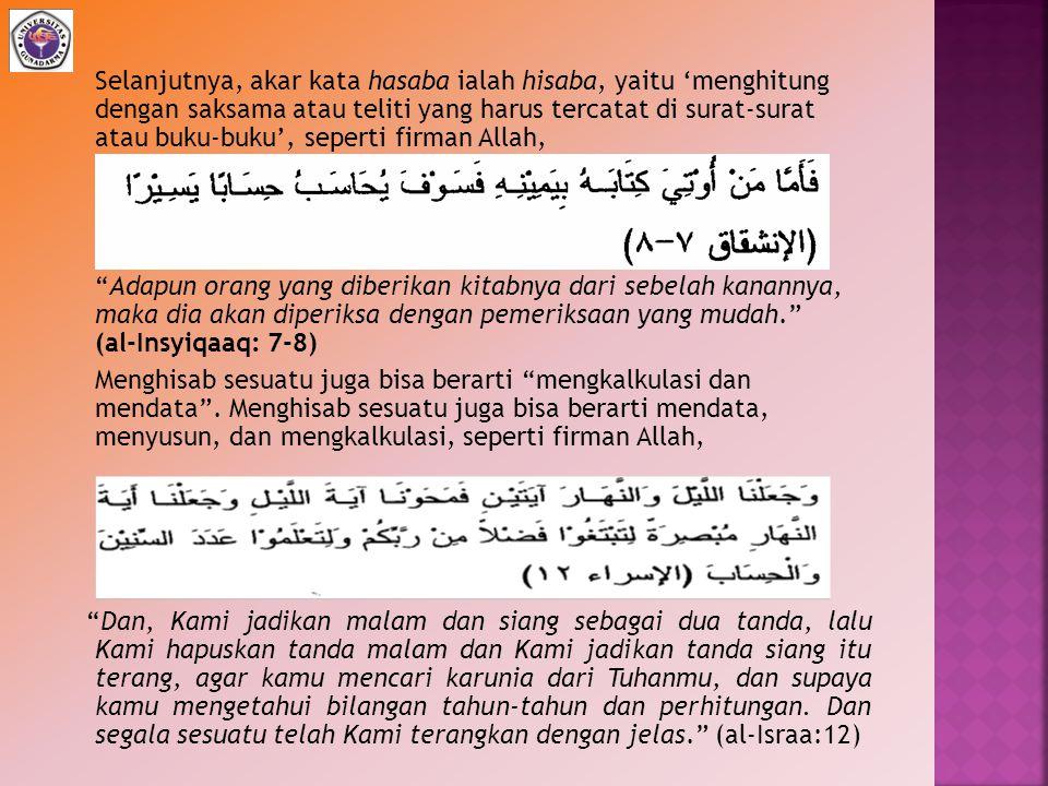 2.Pengertian Kata Muhasabah dan Hisab dalam Al-Qur'an a.