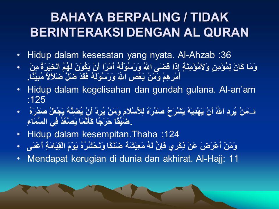 BAHAYA BERPALING / TIDAK BERINTERAKSI DENGAN AL QURAN Hidup dalam kesesatan yang nyata. Al-Ahzab :36 وَمَا كَانَ لِمُؤْمِنٍ وَلاَمُؤْمِنَةٍ إِذَا قَضَ