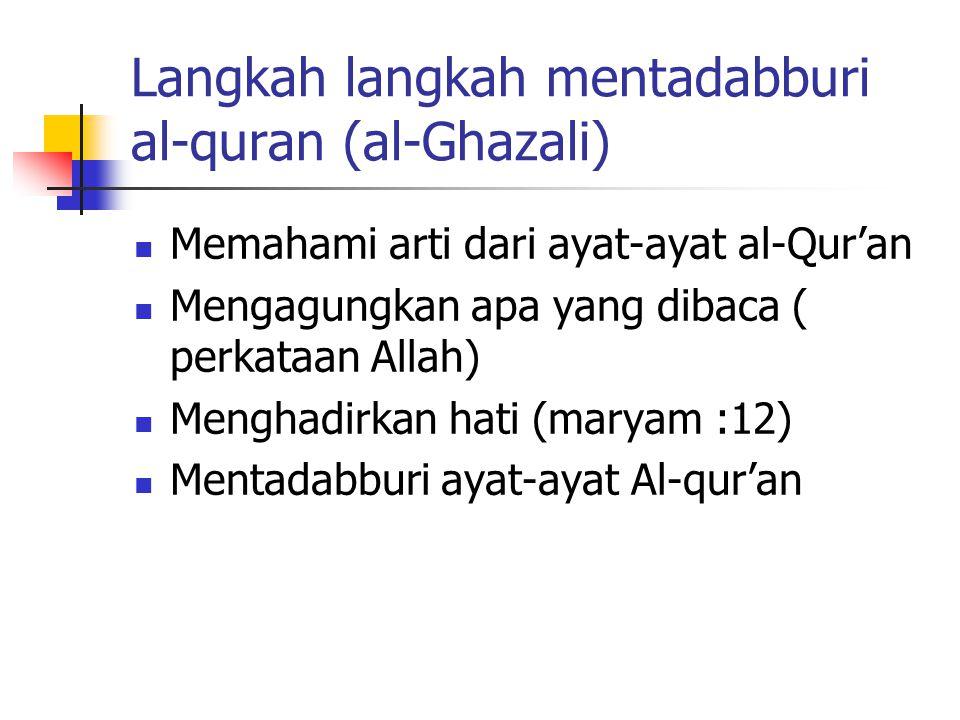 Langkah langkah mentadabburi al-quran (al-Ghazali) Memahami arti dari ayat-ayat al-Qur'an Mengagungkan apa yang dibaca ( perkataan Allah) Menghadirkan