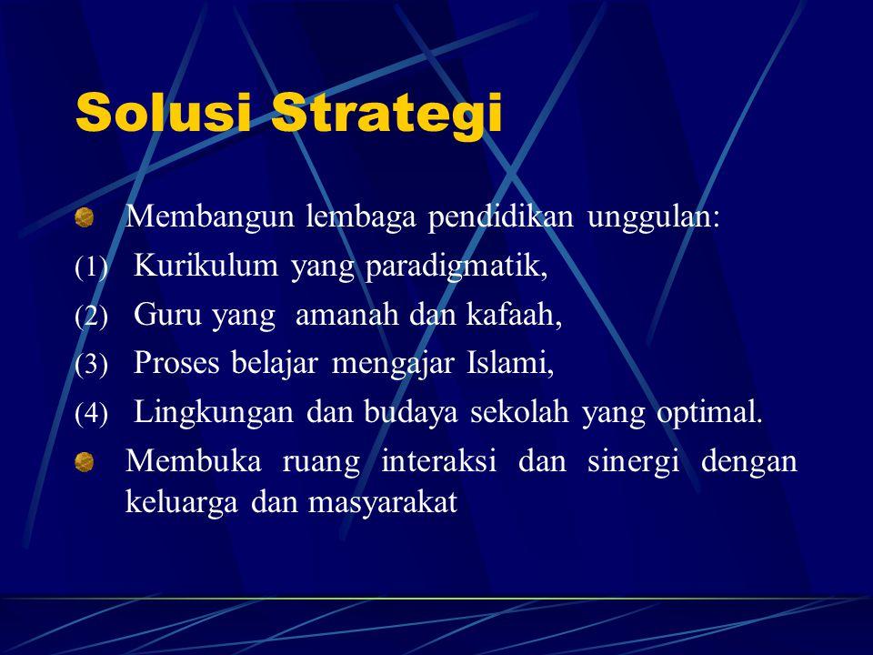 Solusi Strategi Membangun lembaga pendidikan unggulan: (1) Kurikulum yang paradigmatik, (2) Guru yang amanah dan kafaah, (3) Proses belajar mengajar I