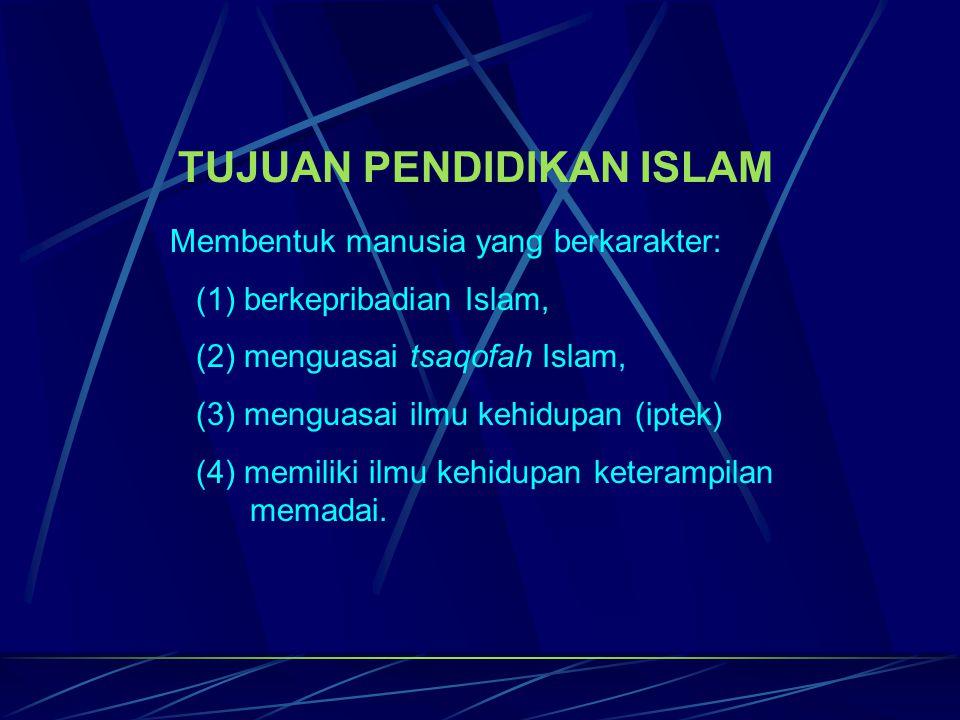 TUJUAN PENDIDIKAN ISLAM Membentuk manusia yang berkarakter: (1) berkepribadian Islam, (2) menguasai tsaqofah Islam, (3) menguasai ilmu kehidupan (ipte