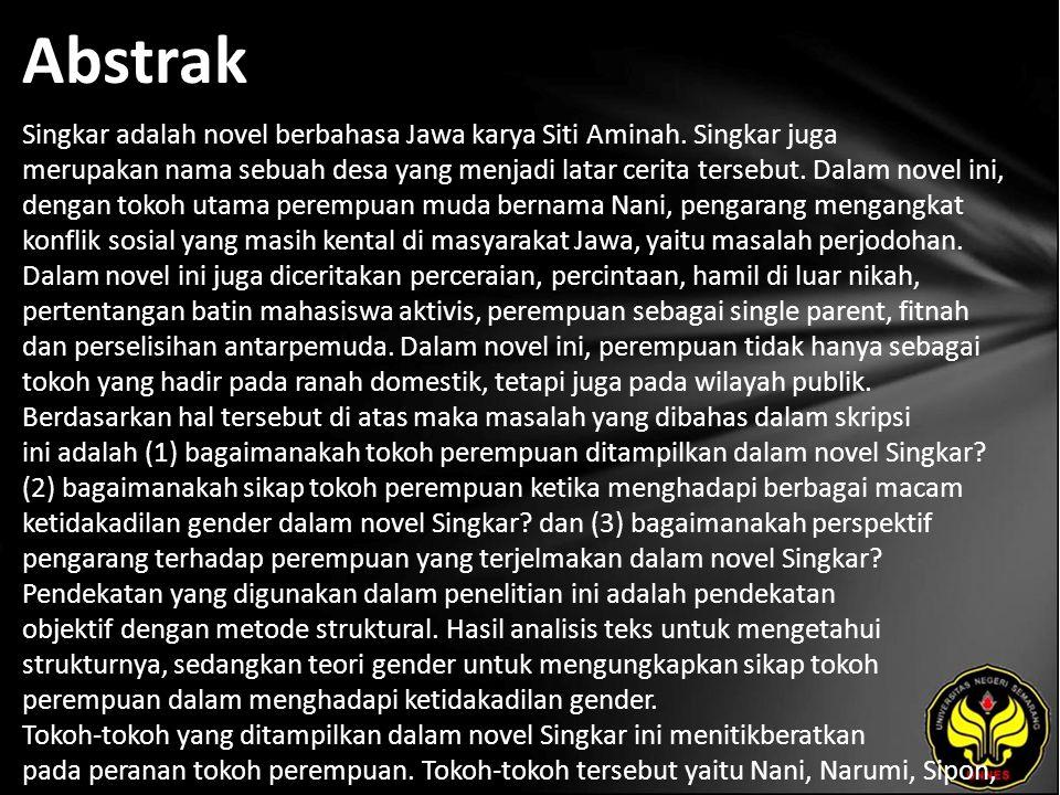 Abstrak Singkar adalah novel berbahasa Jawa karya Siti Aminah. Singkar juga merupakan nama sebuah desa yang menjadi latar cerita tersebut. Dalam novel