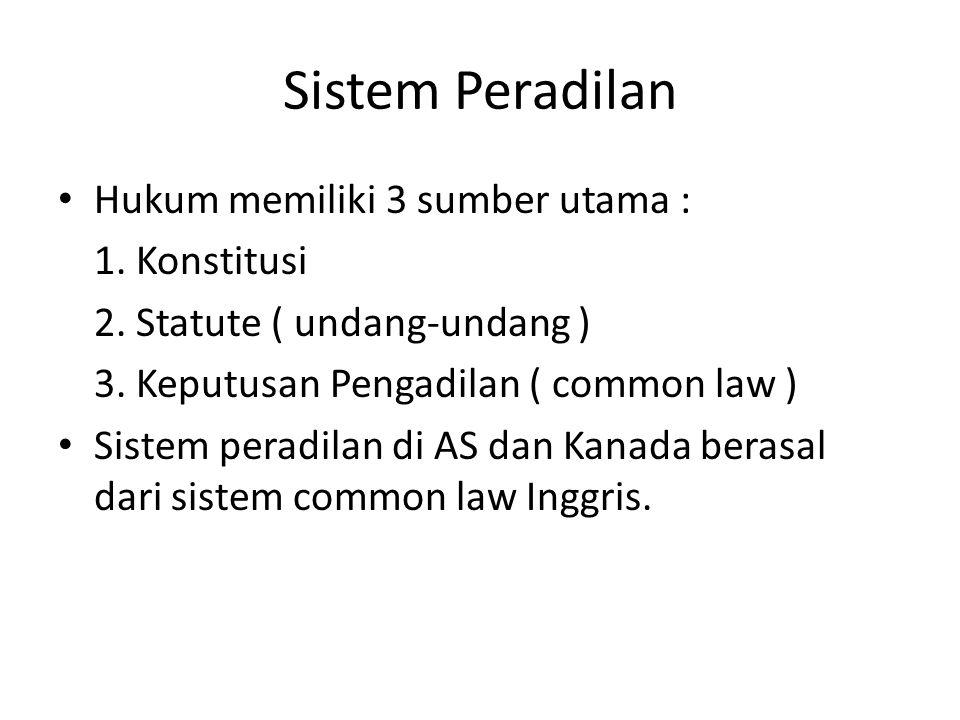 Sistem Peradilan Hukum memiliki 3 sumber utama : 1.