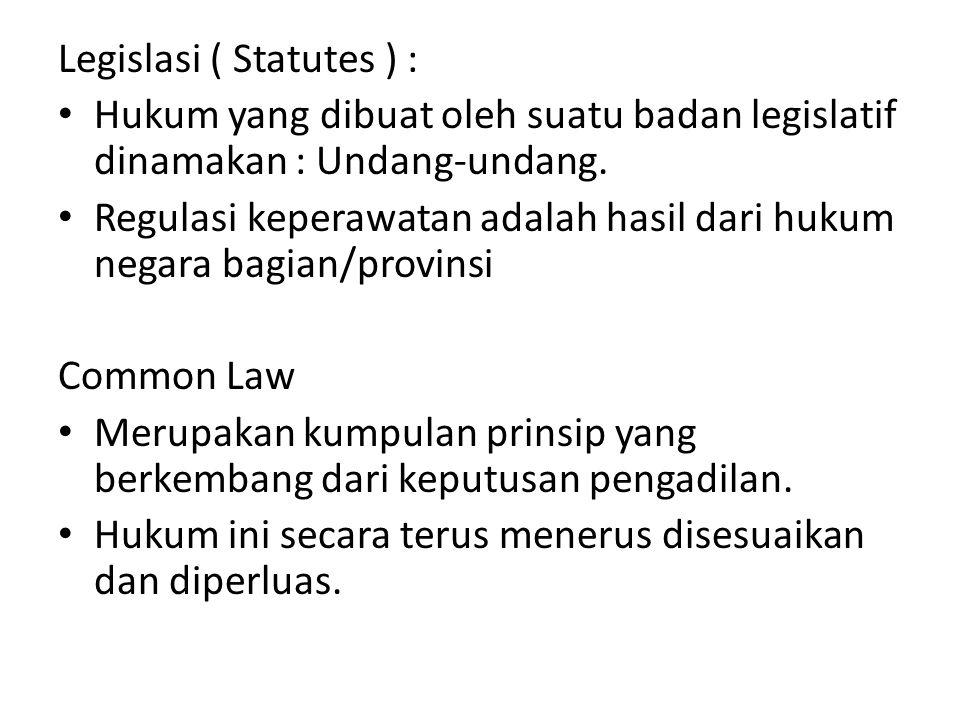 Legislasi ( Statutes ) : Hukum yang dibuat oleh suatu badan legislatif dinamakan : Undang-undang.