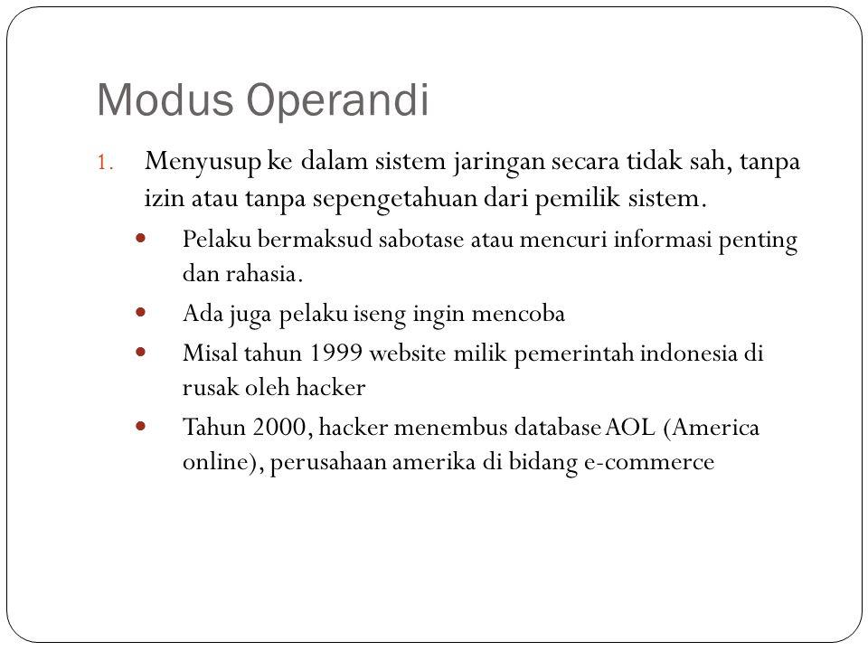 Modus Operandi 1. Menyusup ke dalam sistem jaringan secara tidak sah, tanpa izin atau tanpa sepengetahuan dari pemilik sistem. Pelaku bermaksud sabota