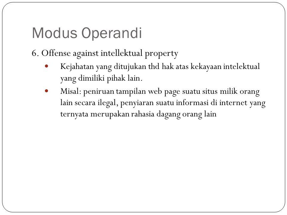 Modus Operandi 6. Offense against intellektual property Kejahatan yang ditujukan thd hak atas kekayaan intelektual yang dimiliki pihak lain. Misal: pe