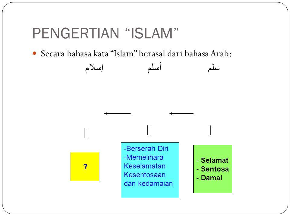 """PENGERTIAN """"ISLAM"""" Secara bahasa kata """"Islam"""" berasal dari bahasa Arab: سلم أسلم إسلام - Selamat - Sentosa - Damai -Berserah Diri -Memelihara Keselama"""
