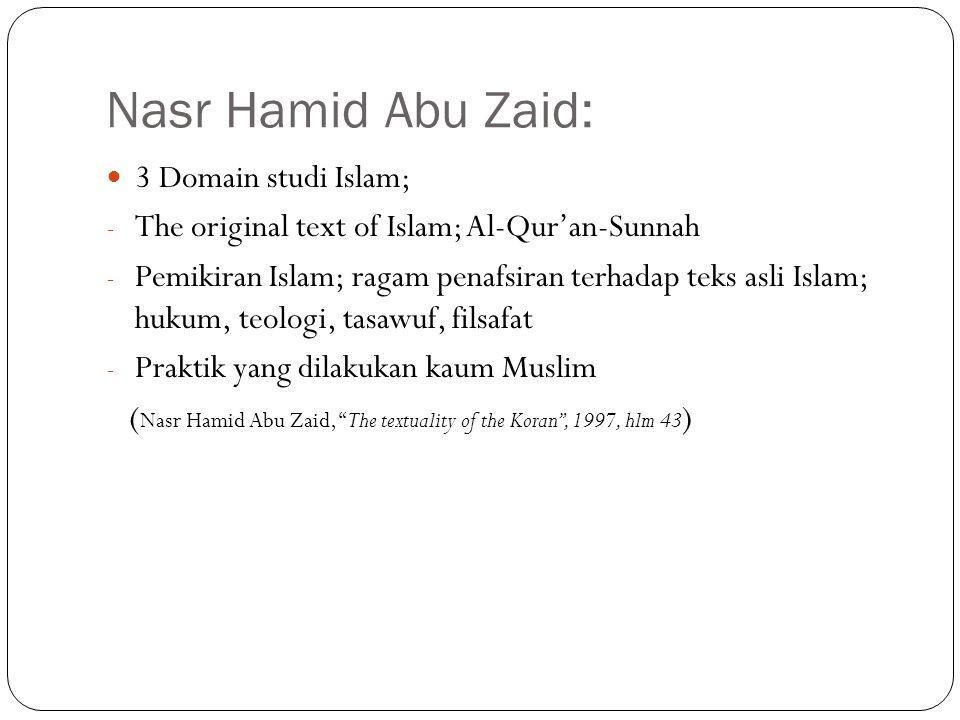 Nasr Hamid Abu Zaid: 3 Domain studi Islam; - The original text of Islam; Al-Qur'an-Sunnah - Pemikiran Islam; ragam penafsiran terhadap teks asli Islam