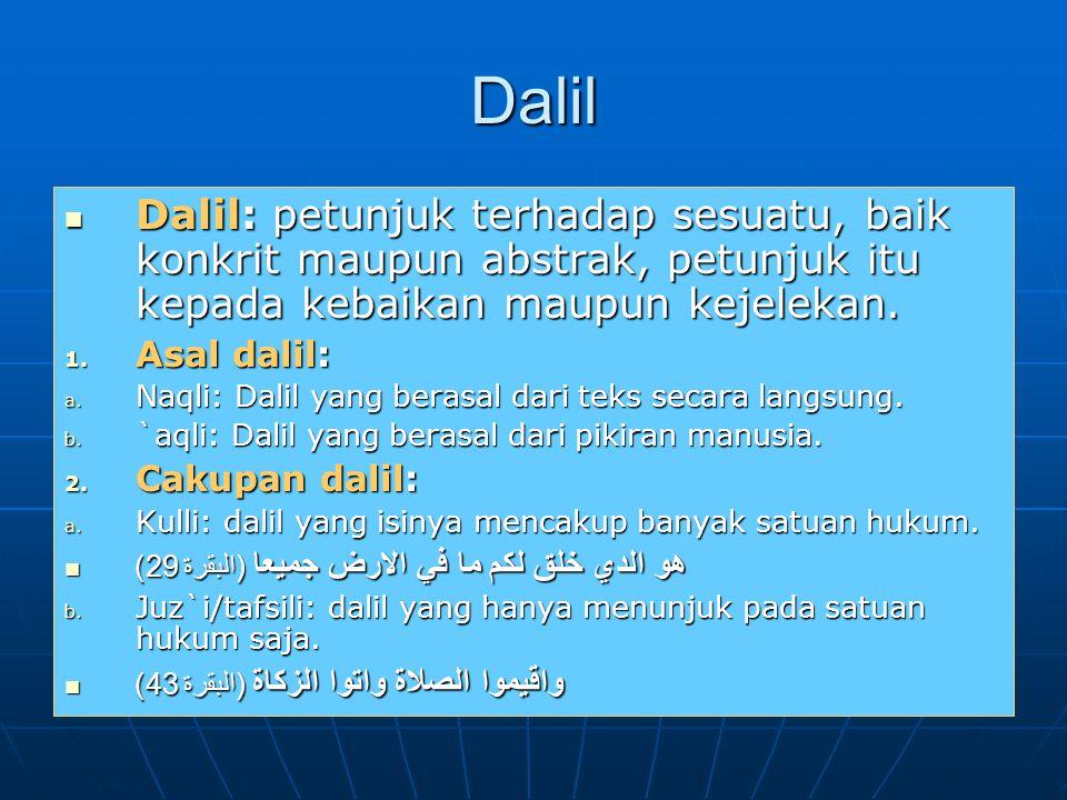 Dalil Dalil: petunjuk terhadap sesuatu, baik konkrit maupun abstrak, petunjuk itu kepada kebaikan maupun kejelekan. Dalil: petunjuk terhadap sesuatu,
