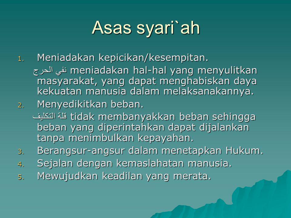 Asas syari`ah 1. Meniadakan kepicikan/kesempitan. نفي الحرج meniadakan hal-hal yang menyulitkan masyarakat, yang dapat menghabiskan daya kekuatan manu