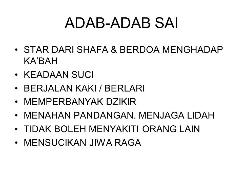 ADAB-ADAB SAI STAR DARI SHAFA & BERDOA MENGHADAP KA'BAH KEADAAN SUCI BERJALAN KAKI / BERLARI MEMPERBANYAK DZIKIR MENAHAN PANDANGAN.