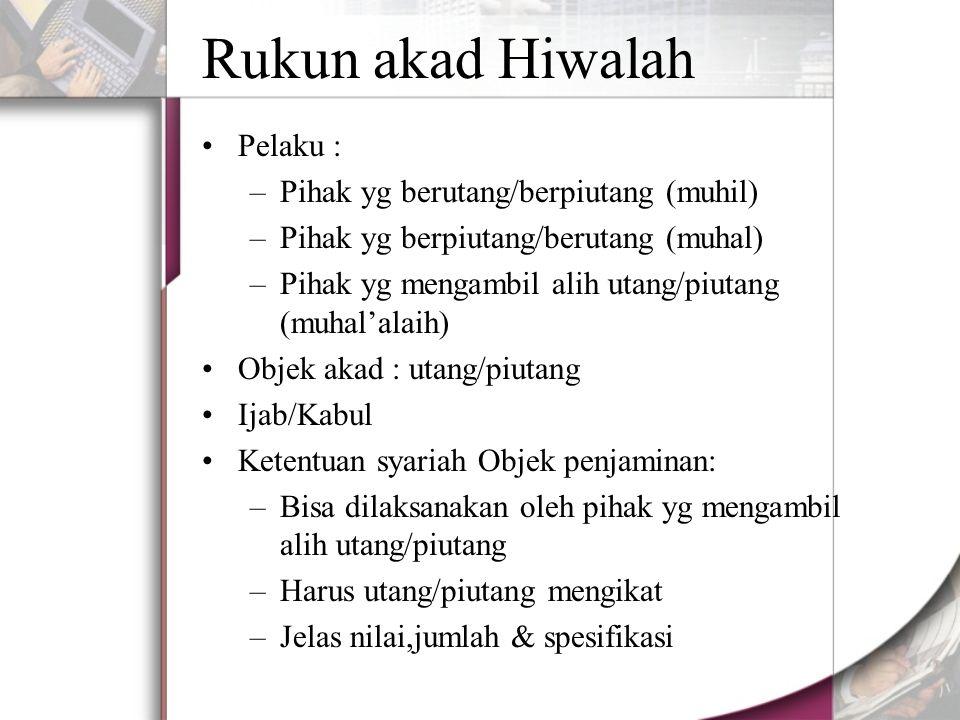 Rukun akad Hiwalah Pelaku : –Pihak yg berutang/berpiutang (muhil) –Pihak yg berpiutang/berutang (muhal) –Pihak yg mengambil alih utang/piutang (muhal'alaih) Objek akad : utang/piutang Ijab/Kabul Ketentuan syariah Objek penjaminan: –Bisa dilaksanakan oleh pihak yg mengambil alih utang/piutang –Harus utang/piutang mengikat –Jelas nilai,jumlah & spesifikasi