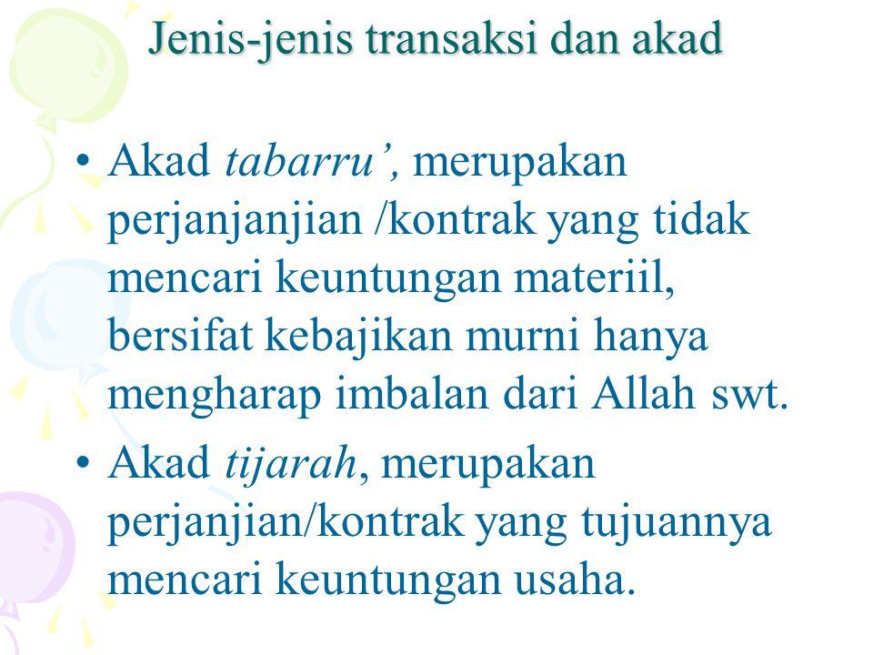 Jenis-jenis transaksi dan akad Akad tabarru', merupakan perjanjanjian /kontrak yang tidak mencari keuntungan materiil, bersifat kebajikan murni hanya mengharap imbalan dari Allah swt.