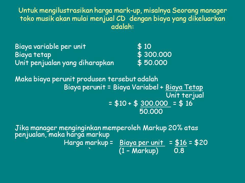 Untuk mengilustrasikan harga mark-up, misalnya Seorang manager toko musik akan mulai menjual CD dengan biaya yang dikeluarkan adalah: Biaya variable per unit$ 10 Biaya tetap $ 300.000 Unit penjualan yang diharapkan$ 50.000 Maka biaya perunit produsen tersebut adalah Biaya perunit = Biaya Variabel + Biaya Tetap Unit terjual = $10 + $ 300.000 = $ 16 50.000 Jika manager menginginkan memperoleh Markup 20% atas penjualan, maka harga markup Harga markup = Biaya per unit = $16 = $20 ` (1 – Markup) 0.8