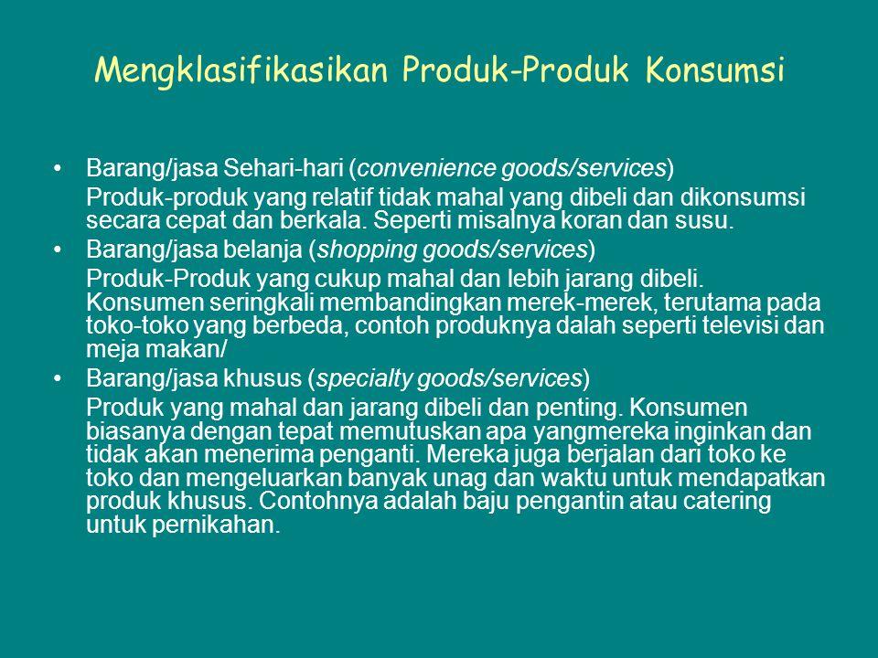 Mengklasifikasikan Produk-Produk Konsumsi Barang/jasa Sehari-hari (convenience goods/services) Produk-produk yang relatif tidak mahal yang dibeli dan dikonsumsi secara cepat dan berkala.