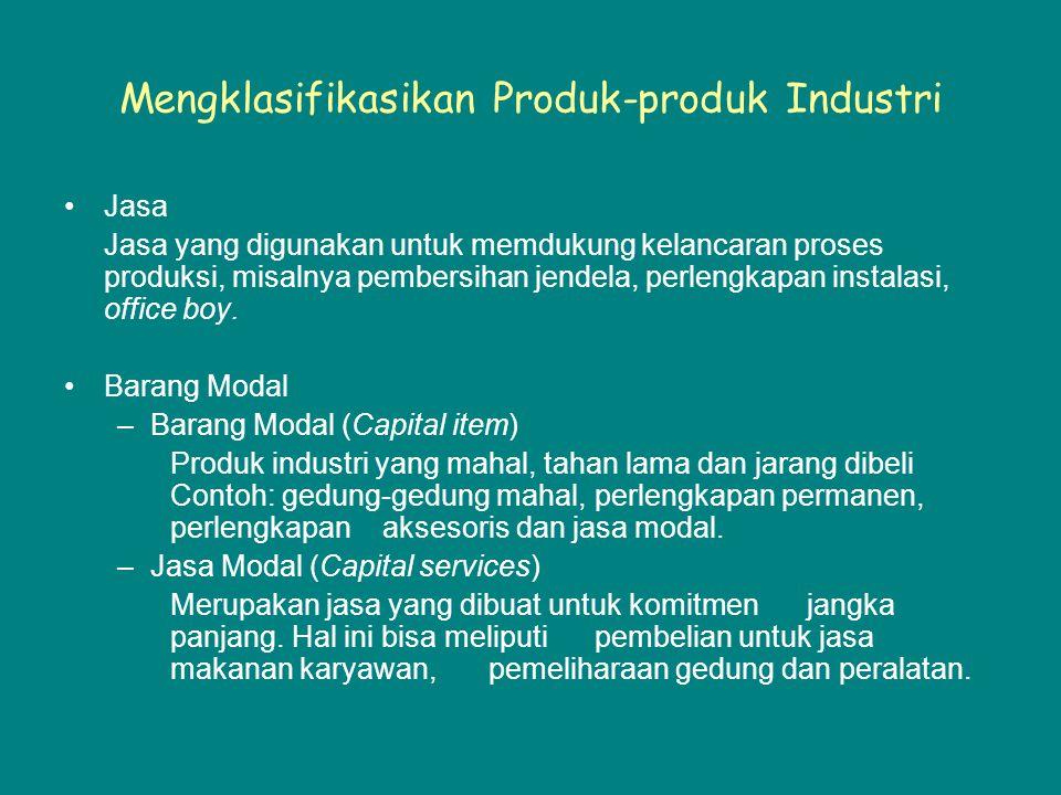 Mengklasifikasikan Produk-produk Industri Jasa Jasa yang digunakan untuk memdukung kelancaran proses produksi, misalnya pembersihan jendela, perlengkapan instalasi, office boy.