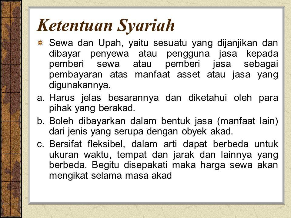 Ketentuan Syariah Sewa dan Upah, yaitu sesuatu yang dijanjikan dan dibayar penyewa atau pengguna jasa kepada pemberi sewa atau pemberi jasa sebagai pe