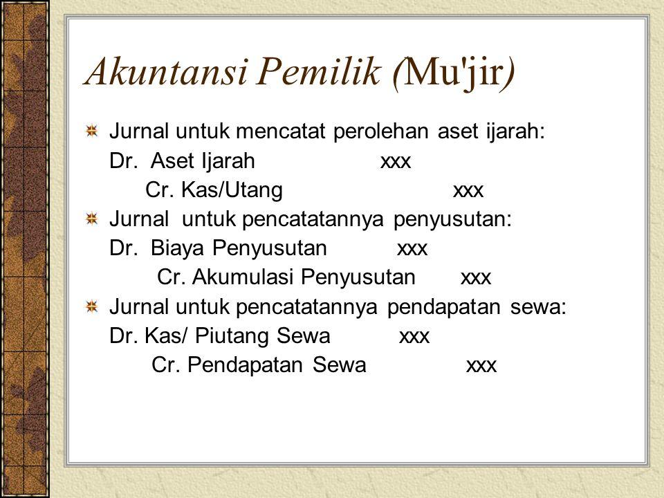 Akuntansi Pemilik (Mu'jir) Jurnal untuk mencatat perolehan aset ijarah: Dr. Aset Ijarah xxx Cr. Kas/Utang xxx Jurnal untuk pencatatannya penyusutan: D