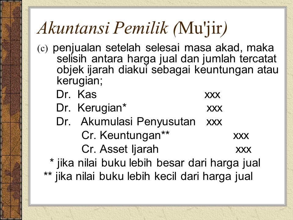 Akuntansi Pemilik (Mu'jir) (c) penjualan setelah selesai masa akad, maka selisih antara harga jual dan jumlah tercatat objek ijarah diakui sebagai keu
