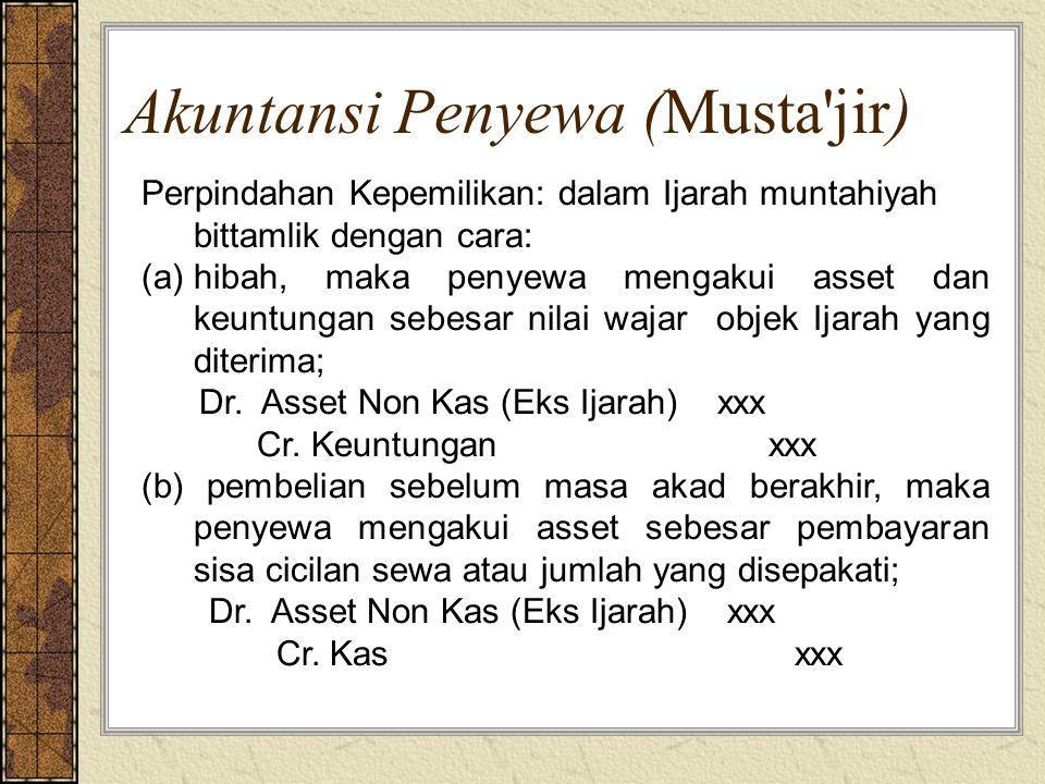 Akuntansi Penyewa (Musta'jir) Perpindahan Kepemilikan: dalam Ijarah muntahiyah bittamlik dengan cara: (a)hibah, maka penyewa mengakui asset dan keuntu